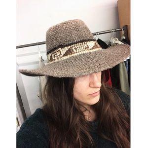 Vintage handmade wool western wide brim hat